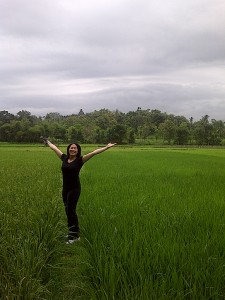 Metta in a rice paddy in Borobudur, Indonesia